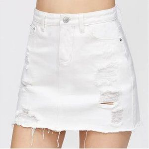 American Eagle White Mini Jean Skirt with Rips S8